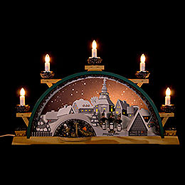 Candle arch Johannis mine of Seifen with miners  -  55x31cm / 21.7x12inch