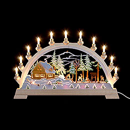 Candle arch forester's house with figures, colored  -  65x40cm / 26x17.5inch