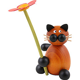 Cat Bommel with flower  -  8cm / 3.1inch