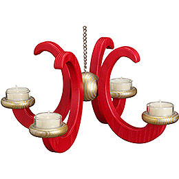 Ceiling candle holder, ash tree, red glazed  -  33x16cm / 13x6.3inch