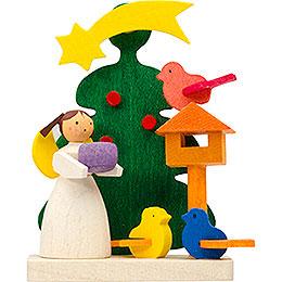 Christbaumschmuck Baum - Engel mit Vogelfütterung  -  6cm