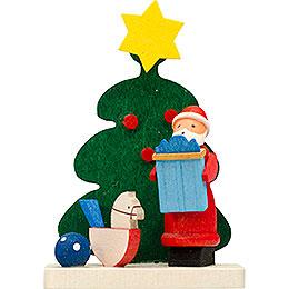 Christbaumschmuck Baum - Weihnachtsmann mit Schaukelpferd  -  6cm