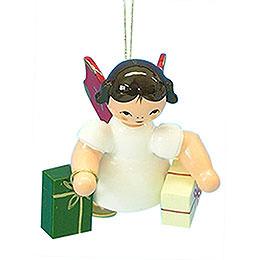 Christbaumschmuck Engel mit 2 Geschenken  -  Rote Flügel  -  schwebend  -  6cm