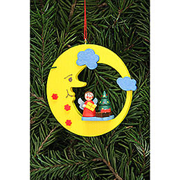 Christbaumschmuck Engel mit Baum im Mond  -  8,3x7,9cm