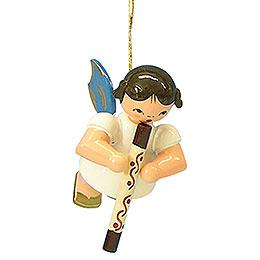 Christbaumschmuck Engel mit Didgeridoo  -  Blaue Flügel  -  schwebend  -  5,5cm