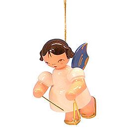 Christbaumschmuck Engel mit Triangel  -  Blaue Flügel  -  schwebend  -  5,5cm