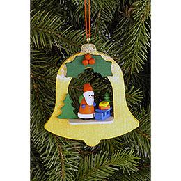 Christbaumschmuck Glocke mit Weihnachtsmann  -  7,1 x 7,9cm