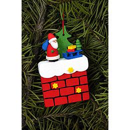 Christbaumschmuck Kamin mit Weihnachtsmann  -  4,8 x 7,6cm