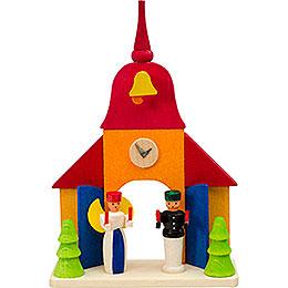 Christbaumschmuck Kirche mit Engel und Bergmann  -  9cm