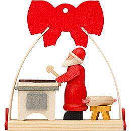 Christbaumschmuck Schleife Weihnachtsmann mit Bäckerei  -  7cm