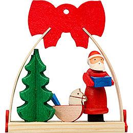 Christbaumschmuck Schleife Weihnachtsmann mit Schaukelpferd  -  7cm