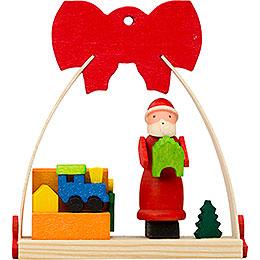 Christbaumschmuck Schleife Weihnachtsmann mit Spielzeugkiste  -  7cm