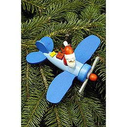 Christbaumschmuck Weihnachtsmann im Flieger  -  10,0 x 5,0cm