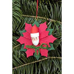 Christbaumschmuck Weihnachtsstern mit Weihnachtsmann  -  6,5 x 6,5cm