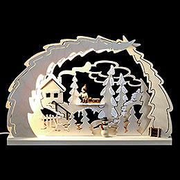 Dekoleuchter Schlittenwanderung LED  -  30x28,5x4,5cm