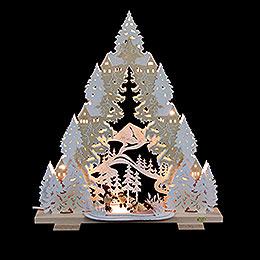 Doppel - Lichtspitze Schlittschuhspa� auf dem Winterteich  -  44x50x11cm