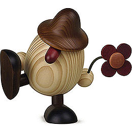 Egghead Father Anton  with flower sitting/dancing, brown  -  15cm / 5.9inch