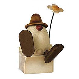 Eierkopf Alfons mit Blume sitzend/tanzend, braun  -  11cm