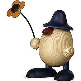 Eierkopf Rudi mit Blume, winkend, blau  -  11cm