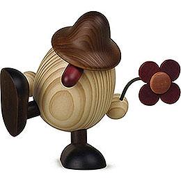 Eierkopf Vater Anton  mit Blume sitzend/tanzend, braun  -  15cm