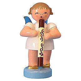 Engel mit Didgeridoo  -  Blaue Flügel  -  stehend  -  6cm