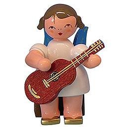 Engel mit Gitarre  -  Blaue Flügel  -  sitzend  -  5cm