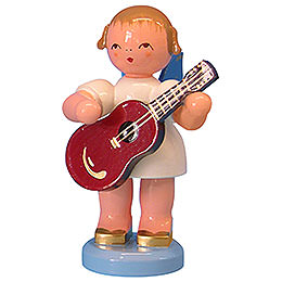 Engel mit Gitarre  -  Blaue Flügel  -  stehend  -  9,5cm