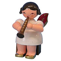 Engel mit Klarinette  -  Rote Flügel  -  sitzend  -  5cm