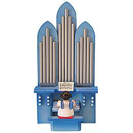 Engel mit Orgel  -  Blaue Flügel  -  stehend  -  6cm
