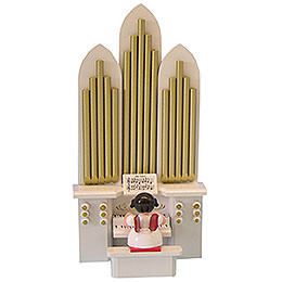 Engel mit Orgel  -  Rote Flügel  -  stehend  -  6cm