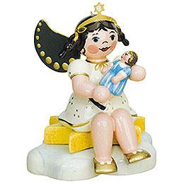 Engel mit Puppe - sitzend  -  6,5cm