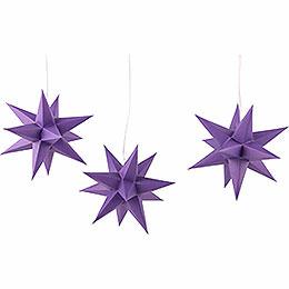 Erzgebirge - Palast Adventsstern 3er - Set violett  -  17cm