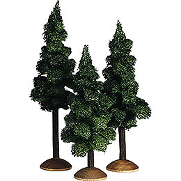 Fir tree with trunk, set of three  -  17cm / 6.7inch