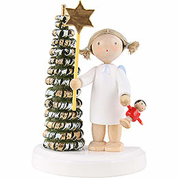 Flachshaarengel am Weihnachtsbaum mit Stern und Puppe  -  5cm
