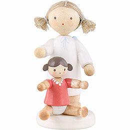 Flachshaarengel mit Puppe  -  5cm