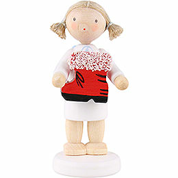 Flax Haired Angel with Santa's Boot  -  5cm / 2 inch