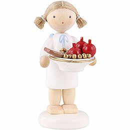 Flax haired angel with St. Nick plate  -  5cm