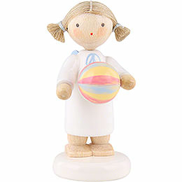 Flax haired angel with ball  -  5cm