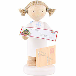 Flax haired angel with letter to Christ child  -  5cm