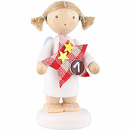 Flax haired angel with star (1)  -  5cm
