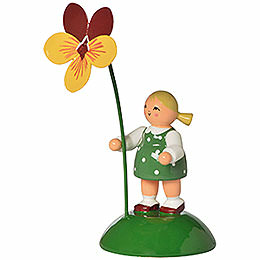 Flower girl with pansy  -  6cm / 2.4inch