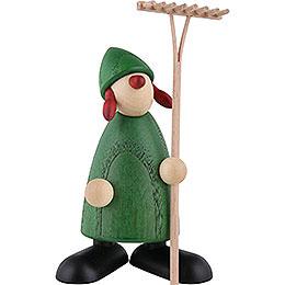 Gratulantin Hanna mit Rechen, grün  -  9cm