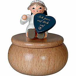 "Guardian Angel with Box ""Ich Pass ...""  -  6cm / 2.4 inch"