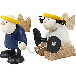 Hans and Lotte with sleigh  -  7x15cm / 2.8x5.9inch