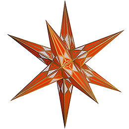 Hartenstein Christmas star  -  white - orange with gold  -  68cm / 27inch