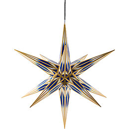 Hasslau Christmas Star for Outside Use Blue/White with Golden Pattern  -  75cm / 30 inch