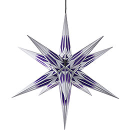 Hasslau Christmas star for outside use purple/white with silver pattern  -  75cm / 30inch