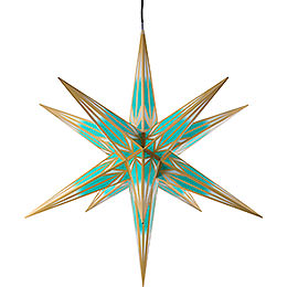 Hasslau Christmas star for outside use turquoise/white with golden pattern  -  75cm / 30inch