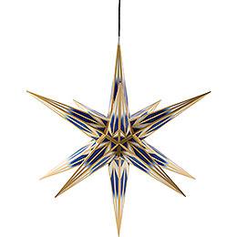 Haßlauer Weihnachtsstern Außenstern blau/weiß mit Goldmuster  -  75cm