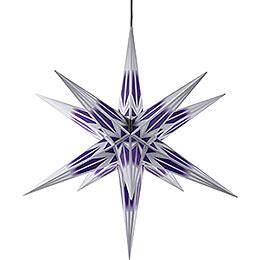 Haßlauer Weihnachtsstern Außenstern lila/weiß mit Silbermuster  -  75cm